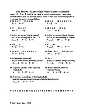 Set Theory - Subsets and Proper Subset Symbols