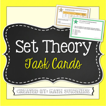 Set Theory with Venn Diagrams Task Cards Activity (And, Or, and Complement)