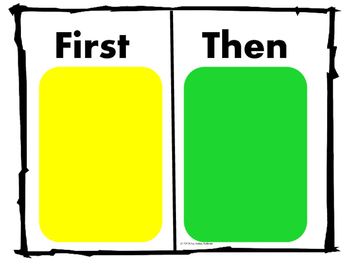 Set: Traffic Light behavior visual, task box set and first then statement sheet