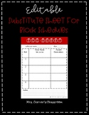 Set Up for Success Secondary Substitute Sheet for Block Schedules