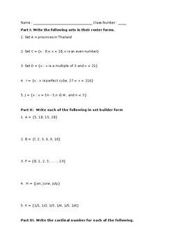 Set Worksheet (Simple and Review)