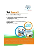 Set de 7 Clases Listas de Español. Tema 5 Libro 2.  Aprend