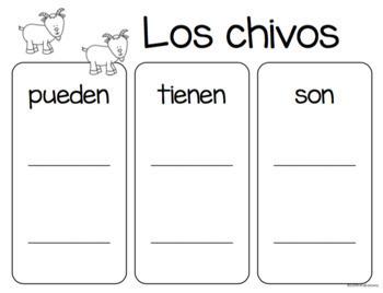 Set de comprensión de lectura. Animales de la granja: chivo.