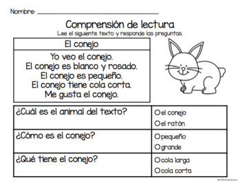 Set de comprensión de lectura. Animales de la granja: conejo.