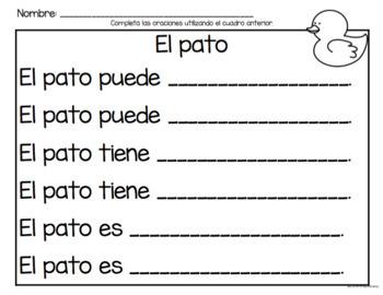 Set de comprensión de lectura. Animales de la granja: pato.