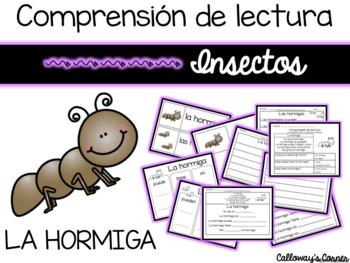 Set de comprensión de lectura. Insectos: la hormiga.
