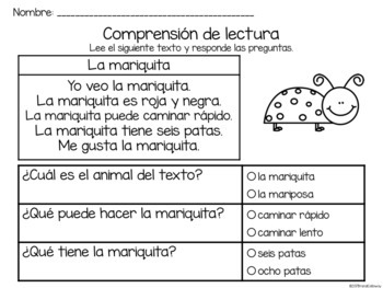 Comprensión de lectura. Insectos: la mariquita.