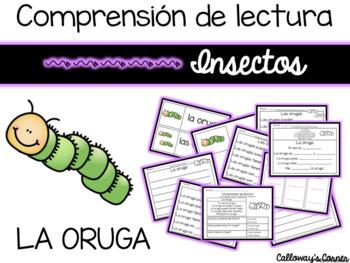 Set de comprensión de lectura. Insectos: la oruga.