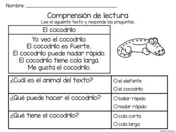 Set de comprensión de lectura. Zoológico