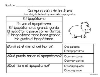 Set de comprensión de lectura. Zoológico: el hipopótamo