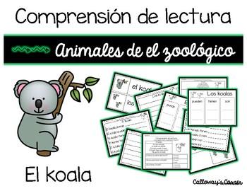 Set de comprensión de lectura. Zoológico: el koala