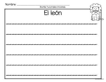 Set de comprensión de lectura. Zoológico: el león