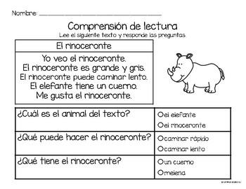 Comprensión de lectura. Zoológico: el rinoceronte