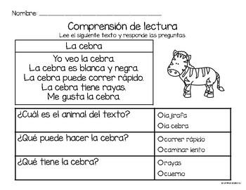 Set de comprensión de lectura. Zoológico: la cebra