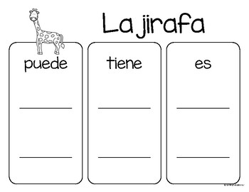 Set de comprensión de lectura. Zoológico: la jirafa