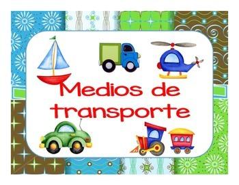 Set de láminas sobre los Medios de transporte