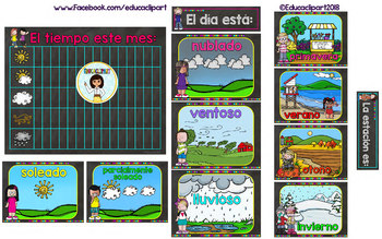 Set del Tiempo - Melonheadz Chalkboard Brights (Spanish weather set)