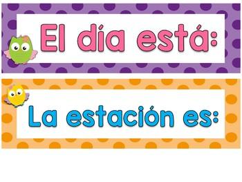 Set del tiempo y estaciones - Búhos (Spanish Owls Weather and Seasons Posters)
