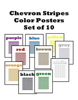 Set of 10 Chevron Stripes Color Posters
