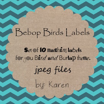 Set of 10 Labels ~matches your birds and burlap theme~ Chevron