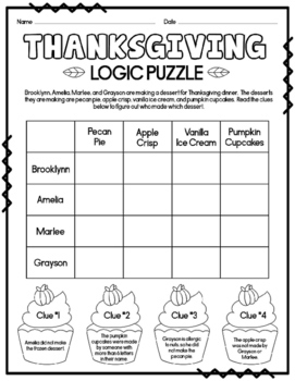 Set of 10 Thanksgiving Logic Puzzles