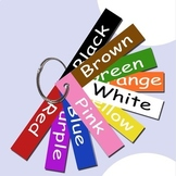 Set of 10 color strips teaches colors and spelling