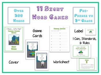 Set of 11 I Have Who Has TEENAGE TURTLES Folder Games - 200+ Dolch Sight Words