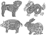 12 Animals of the Chinese Zodiac & New Year Coloring Pages