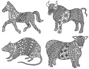 12 animals of the chinese zodiac new year coloring pages by pamela kennedy. Black Bedroom Furniture Sets. Home Design Ideas
