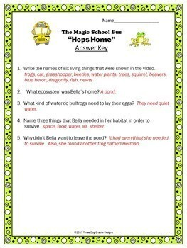 Magic School Bus Science Bundle 33 Video Response Worksheets