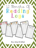 Set of 12 Themed Monthly Reading Logs
