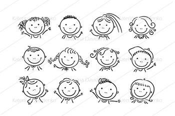 Set of 12 happy cartoon kids faces