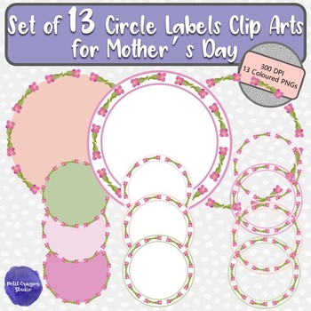 Set of 13 Circle Frames Clip Arts Ideal for Mother's Day with Watercolor Flowers