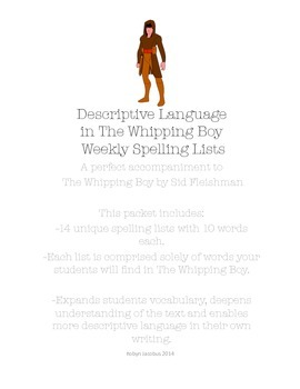 3rd/4th/5th ELA- Set of 14 spelling lists for The Whipping Boy by Sid Fleishman