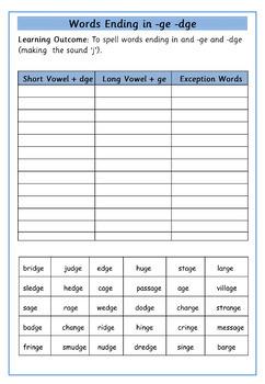 Set of 15 Differentiated Worksheets - Words Ending in dge / ge