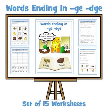 Ge Dge Words Words Ending In Ge Dge Set Of 15