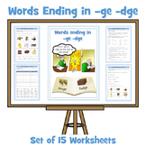 ge / dge Words - Words Ending in -ge / -dge -Set of 15 Differentiated Worksheets