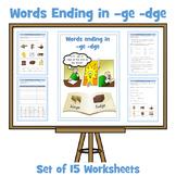 ge / dge Words - Words Ending in -ge / -dge - 15 Worksheets