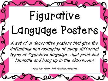 Set of 16 Figurative Language Posters ~ Colorful Chevron Design!