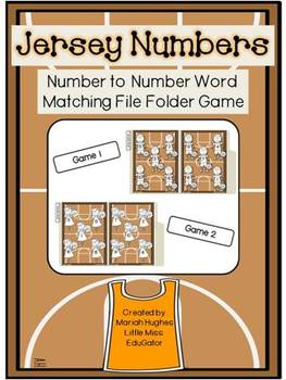 Set of 2 - Jersey Numbers File Folder Game (matching numbe