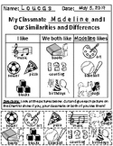 Set of 2: My Classmate and I (Venn Diagram and Chart) with Follow-up Activities