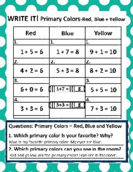 Set of 2:Primary and Secondary Colors Graphing Activities + Follow-up Activities