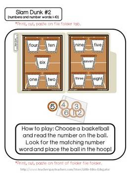Set of 2 - Slam Dunk File Folder Game (Matching numbers to number words 1-10)
