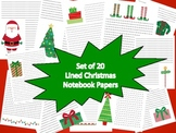 Set of 20 Christmas Themed Lined Paper