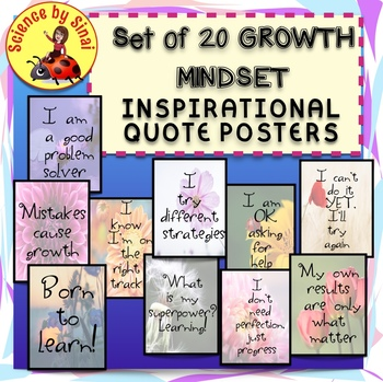 Set of 20 GROWTH MINDSET INSPIRATIONAL QUOTE POSTERS