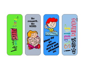 Set of 24 Anti-Bullying Bookmarks-Ready to use