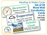 Set of 24 Weather & Water Cycle Word Wall Vocabulary Cards