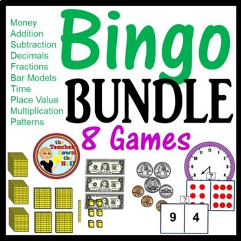 Math Bingo Games - 8 Games 35 Cards Each! 2nd-3rd Money/Time/Fractions & More