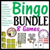 Math Bingo -8 w/ Bingo Cards 2nd-3rd Money/Time/Fractions & More!