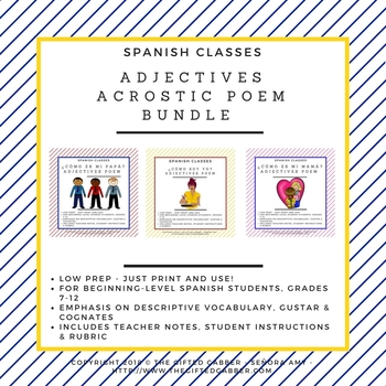 Set of 3 Adjectives Acrostic Poem Bundle - Spanish Class
